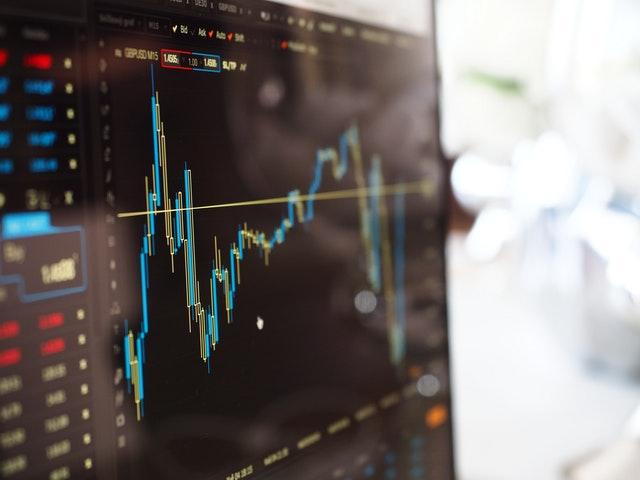 aandelen kaart op scherm